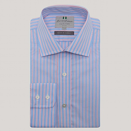 Blue and Pink Stripe Button Cuff Classic Fit Shirt