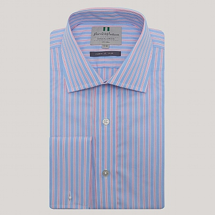 Blue and Pink Stripe Double Cuff Slim Fit Shirt