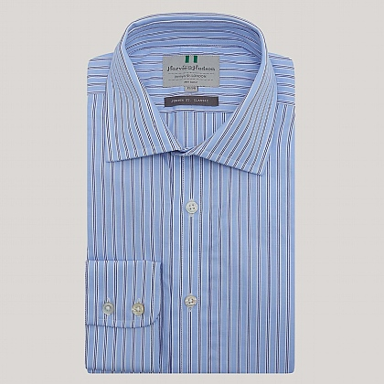 Blue and Navy Stripe Button Cuff Classic Fit Shirt