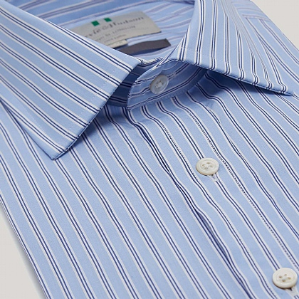 Blue and Navy Stripe Double Cuff Slim Fit Shirt