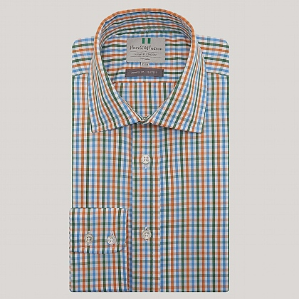 Blue and Orange Check Button Cuff Classic Fit Shirt