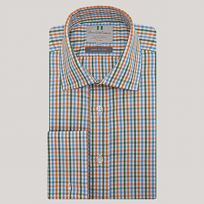 Blue and Orange Check Double Cuff Slim Fit Shirt