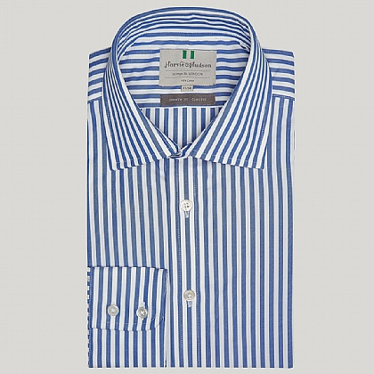 Colbalt Blue Striped Cotton Classic Button Cuff Shirt