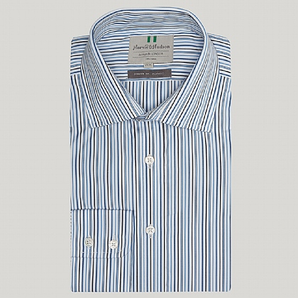 Blue and Navy Cotton Stripe Classic Button Cuff Shirt