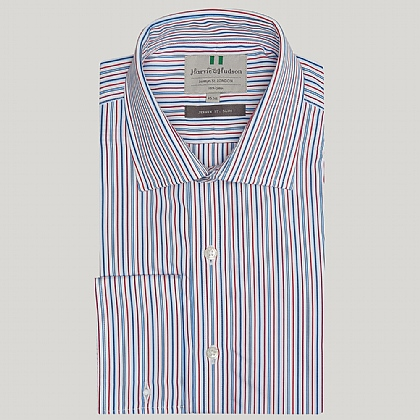 Blue and Red Cotton Stripe Classic Button Cuff Shirt