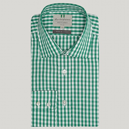 Green Gingham Cotton Classic Button Cuff Shirt