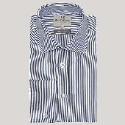 Navy Pencil Stripe Double Cuff Slim Fit Shirt