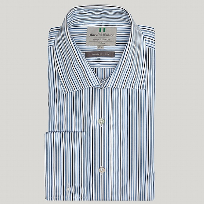 Blue and Navy Cotton Stripe Slim Double Cuff Shirt