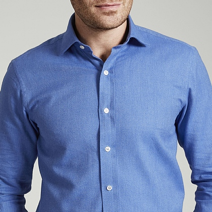 Mid Blue Herringbone Brushed Cotton Shirt