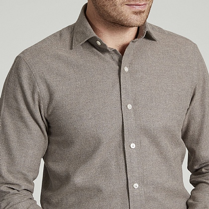 Oatmeal Herringbone Brushed Cotton Shirt