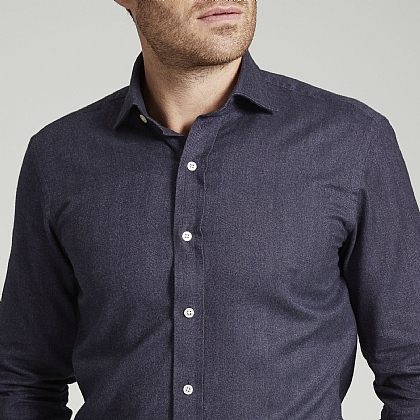 Purple Herringbone Brushed Cotton Shirt