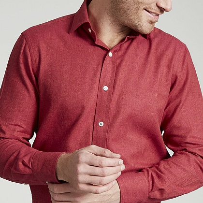 Berry Herringbone Brushed Cotton Shirt