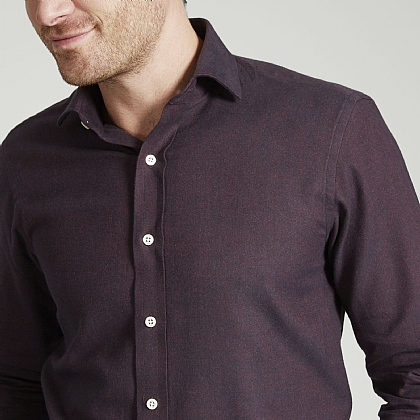 Bordeaux Herringbone Brushed Cotton Shirt