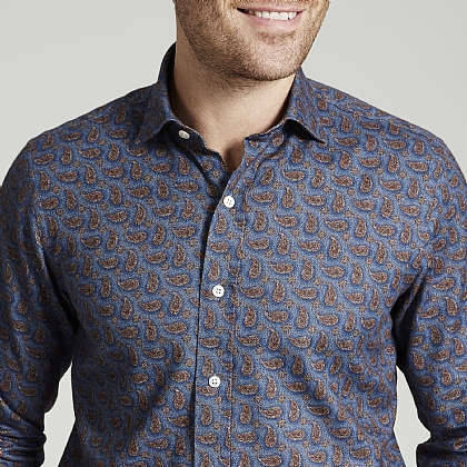 Blue Paisley Herringbone Brushed Cotton Shirt