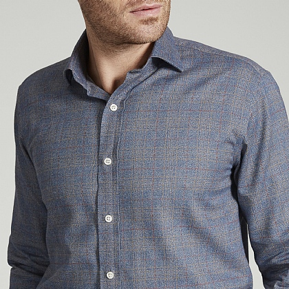 Blue Prince of Wales Check Herringbone Cotton Shirt