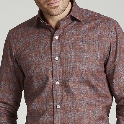 Orange Prince of Wales Check Herringbone Cotton Shirt