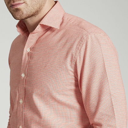 Orange and White Houndstooth Brushed Cotton Shirt