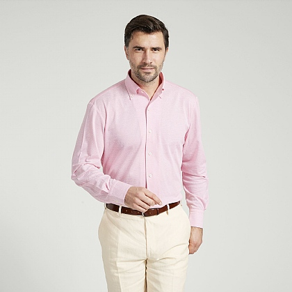 Candy Pink Button Down Jersey Cotton Shirt