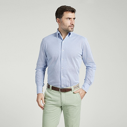 Sky Button Down Jersey Cotton Shirt