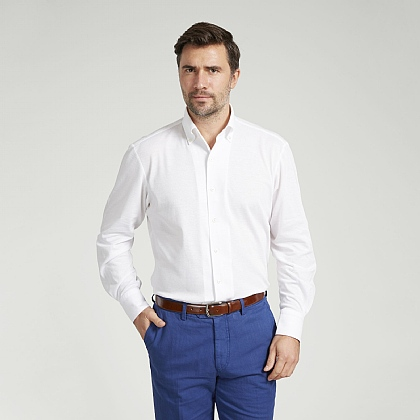 White Button Down Jersey Cotton Shirt