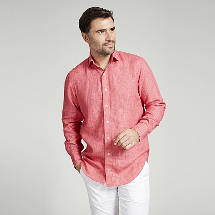 Brick Red Linen Shirt