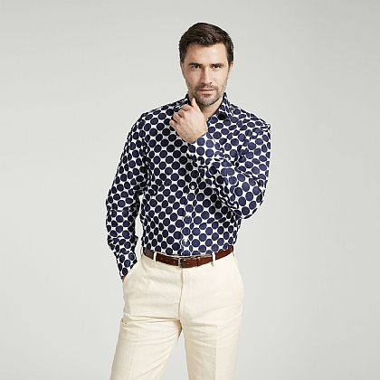 White and Navy Spot Cotton Shirt
