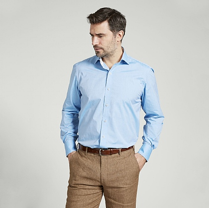 Azure Blue Lightweight Cotton Shirt