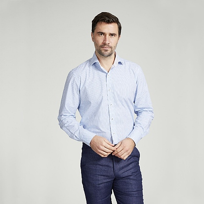 Blue Flower Cotton Shirt