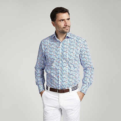 White and Blue Spot Cotton Shirt