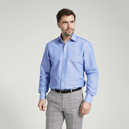 Blue Slub Weave Linen and Cotton Shirt