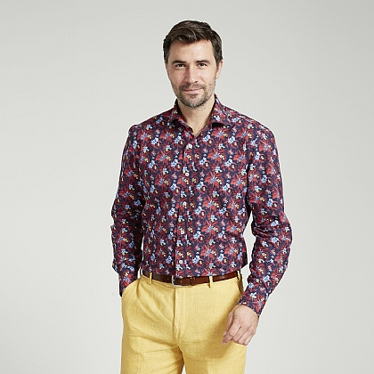 Tropical Flower Print Cotton Shirt