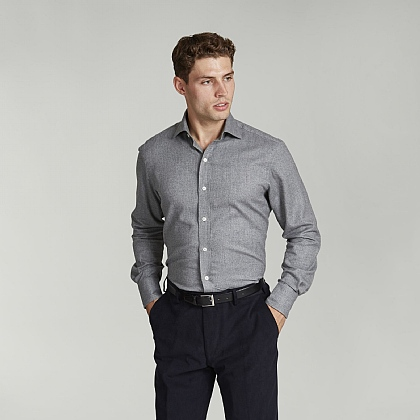 Grey Herringbone Casual Shirt