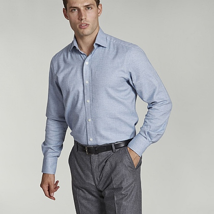 Light Blue Herringbone Casual Shirt