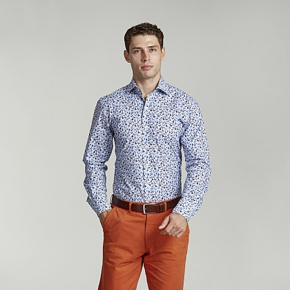 Blue Bird Print Casual Shirt