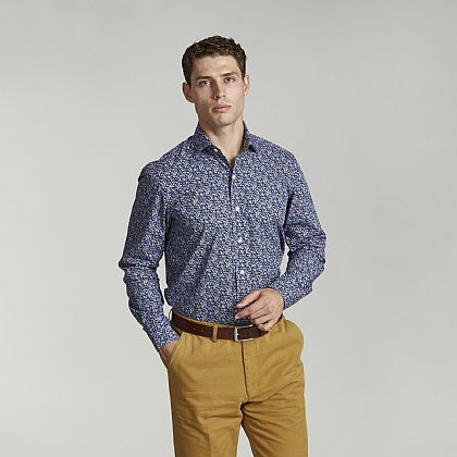 Navy Flower Print Casual Shirt