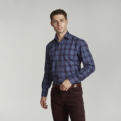 Navy and Red Check Casual Shirt