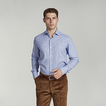 Blue Micro Check Cotton Casual Shirt