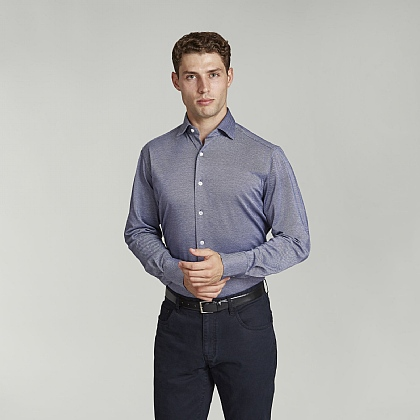 Navy Semi Plain Cotton Casual Shirt