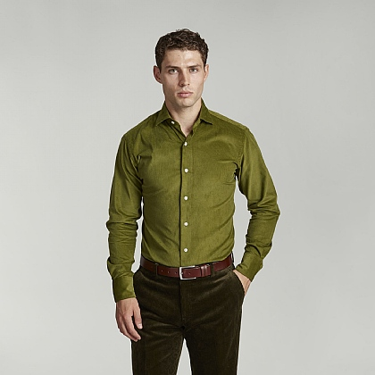 Green English Cord Casual Shirt
