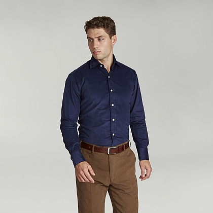 Navy English Cord Casual Shirt