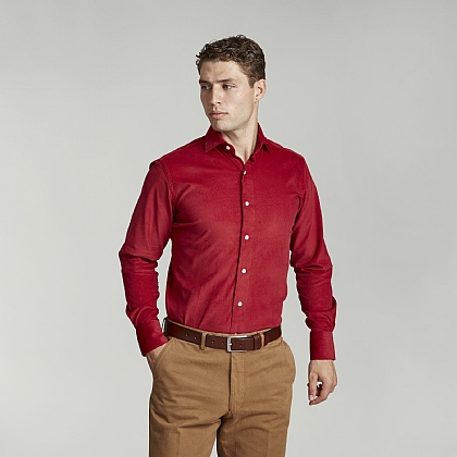Red English Cord Casual Shirt
