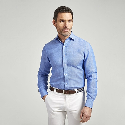 Blue Linen Casual Shirt