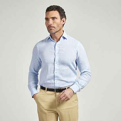 Sky Blue Linen Casual Shirt
