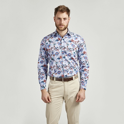 Blue Cotton Flower Print Casual Shirt