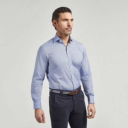 Sky Blue With Navy Spot Casual Shirt