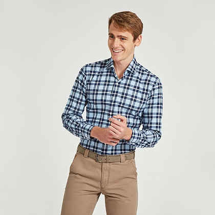 Blue and Navy Check Casual Shirt