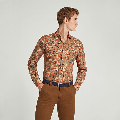 Orange Paisley Cotton Casual Shirt