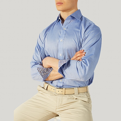 Blue 100% Cotton Casual Shirt