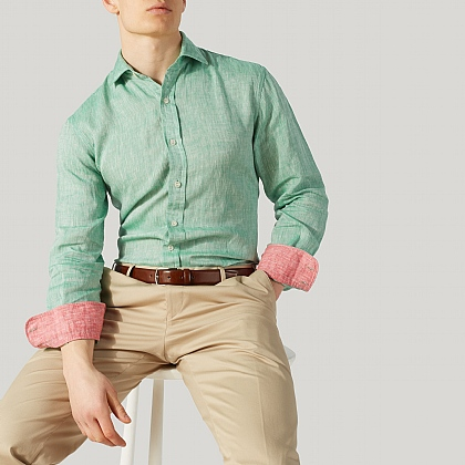 Green with Red 100% Linen Casual Shirt