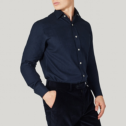 Navy Herringbone Shirt